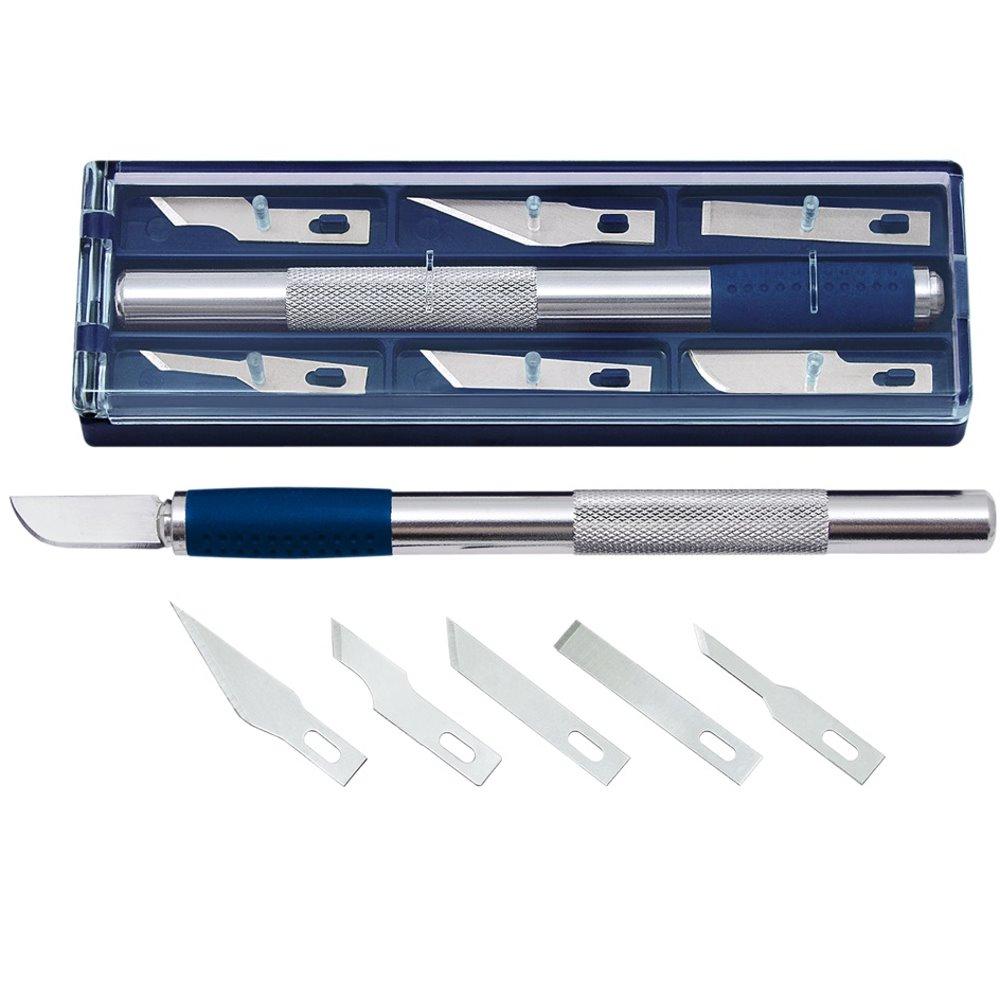 Bastelmesser mit 6 Ersatzklingen Skalpell Cutter Präzisions Messer Hobbymesser