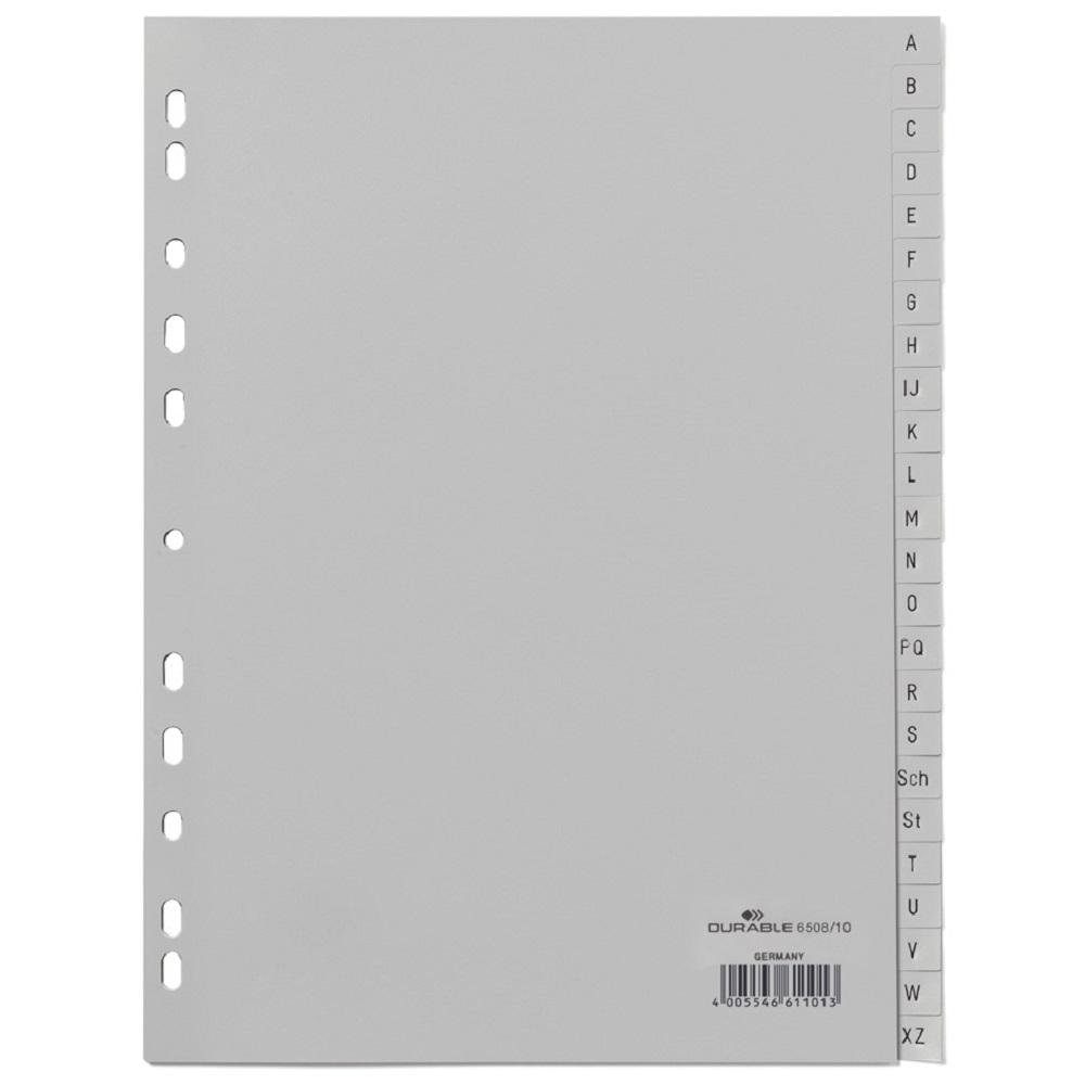 Neu Buchstabenregister Kunststoff grau 20-teilig Ordner Register A4 PP A-Z !