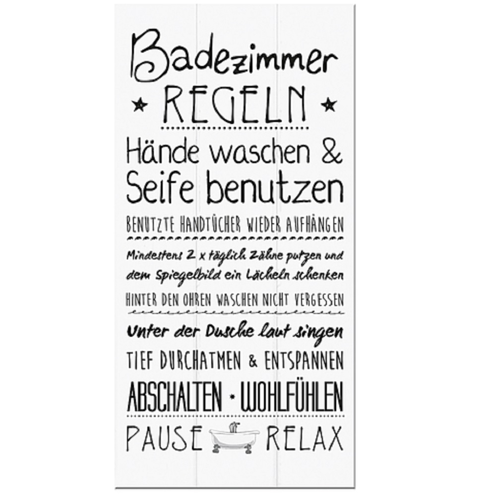 Badezimmer Wandschild Regel, Vintage Optik, weiß, Türschild ...