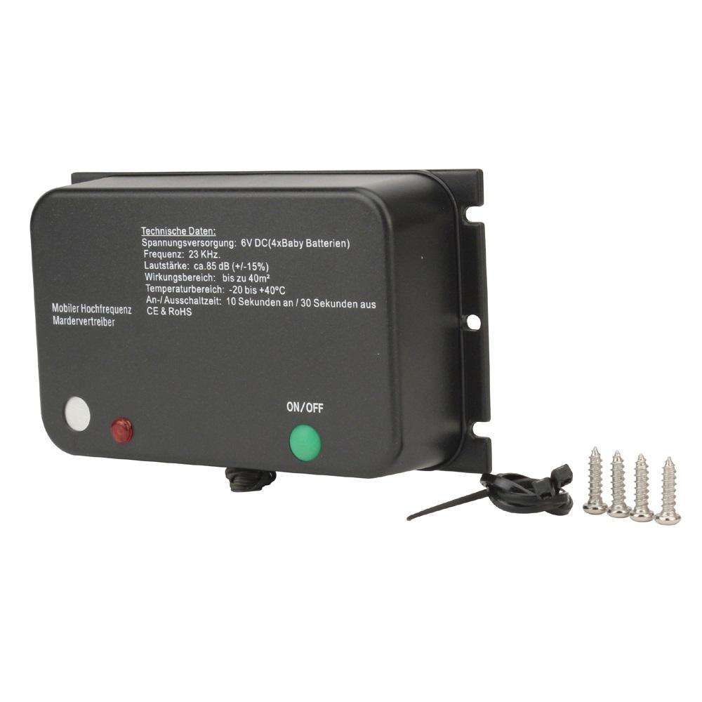 unitec marderschreck ultraschall, batterie, 40 m², marderschutz